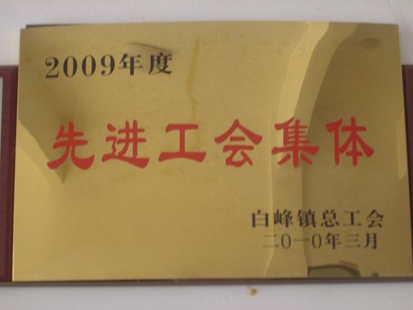 2009年度宁波甬孚纺机有限公司被评为先进工会集体